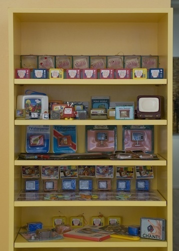 "Jaime Davidovich, Museum of Television Culture, 1982, collection of television memorabilia, 72 x 24 x 12""."