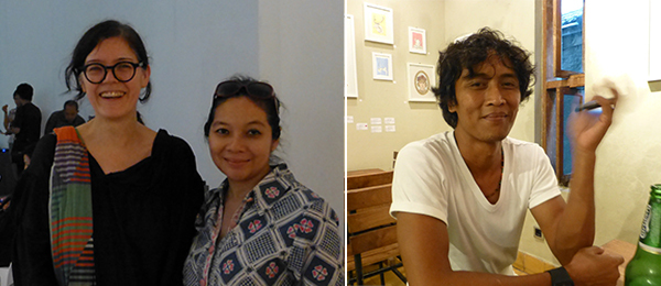 Left: CCA Singapore founding director Ute Meta Bauer and curator Alia Swastika. Right: ArtJog Director Satriagama Rakantaseta.