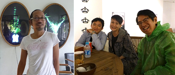 "Left: Artist Angki Purbandono. Right: ROH Projects' Junior Tirtadji, RogueArt's Adeline Ooi, and collector ""Dr Oei"" Hong Dijen."