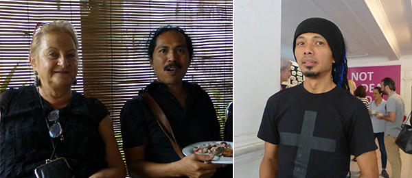 Left: Dealer Ursula Krinzinger and artist Entang Wiharso. Right: Biennale artist Venzha Christiawan.