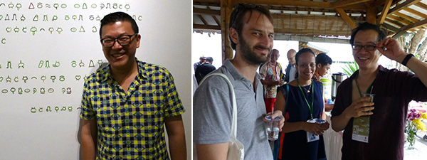Left: IndoArtNow's Tam Tandio. Right: Artist Jean-Baptiste Maitre with Biennale artists Dina Danish and Tiong Ang.