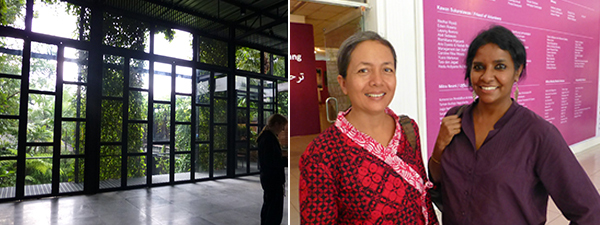 Left: The SaRang Building. Right: Artist Arahmaiani with curator Suman Gopinath.
