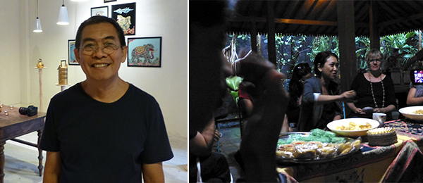 Left: Biennale artist FX Harsono with his installation at the Jogja National Museum. Right: Art historian Farah Wardani leads discussion at the SaRang Building.