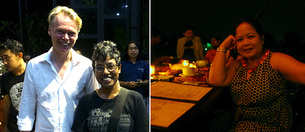 Left: Dealer Michael Janssen and Singapore Art Museum's Susie Lingham. Right: Artist Melati Suryodarmo.