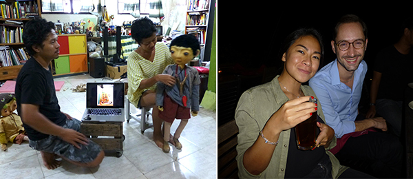Left: PaperMoon Puppet Theater's Iwan Effendi and Ria Tri Sulistyani introduce one of their characters. Right: Sotheby's Galuh Sukardi and 2014 Gwangju Biennale associate curator Emiliano Valdés.
