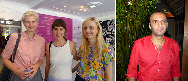 Left: De Appel curators-in-training Kris Dittel, Renata Cervetto, and Aneta Rostkowska. Right: Biennale artist Magdi Mostaga.