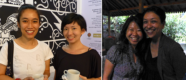 Left: Biennale artist Prilla Tania with MapKL's Ong Jo-Lene. Right: Biennale artist Tintin Wulia and art historian Farah Wardani.