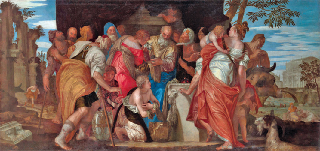 "Paolo Veronese, The Family of Darius before Alexander, 1565–67, oil on canvas, 7' 7 3/4"" x 15' 7""."