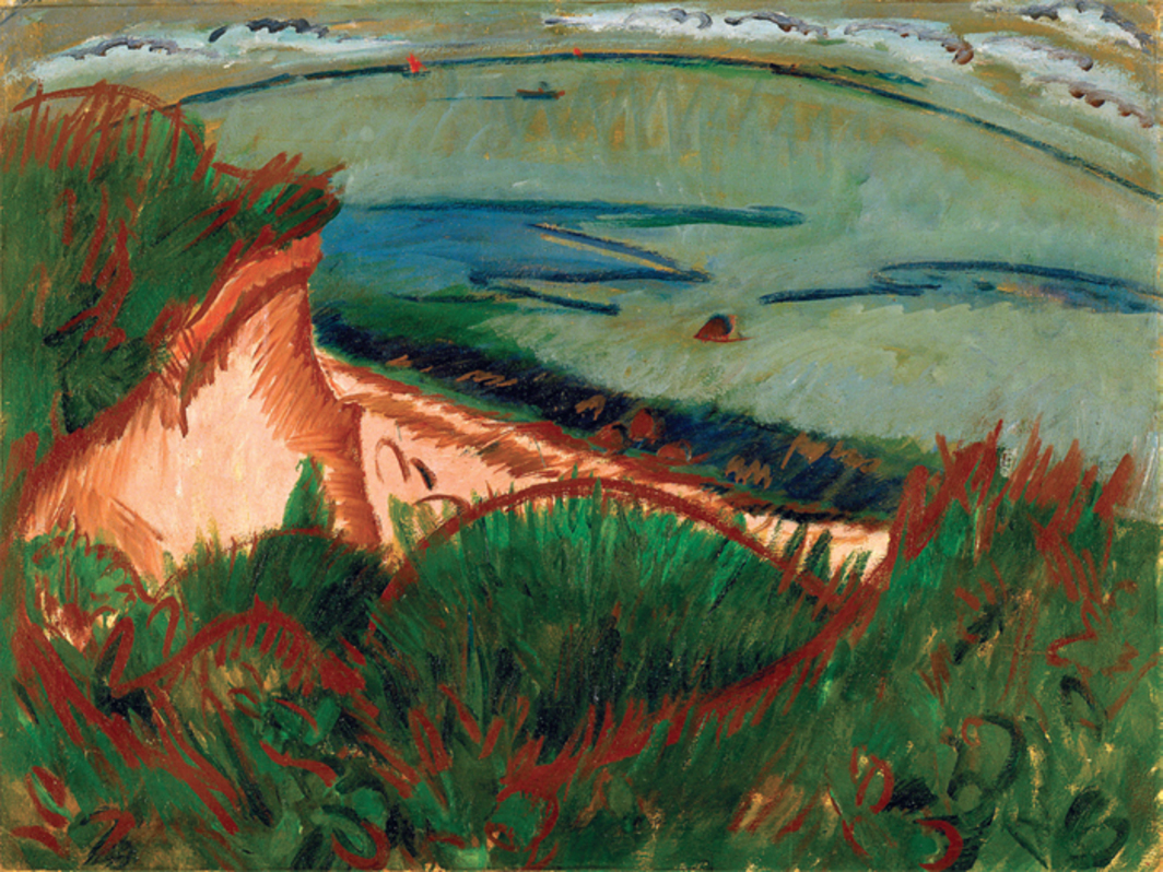 "Ernst Ludwig Kirchner, Coastal Landscape on Fehmarn, ca. 1913, oil on canvas, 35 1/2 x 47 1/2""."