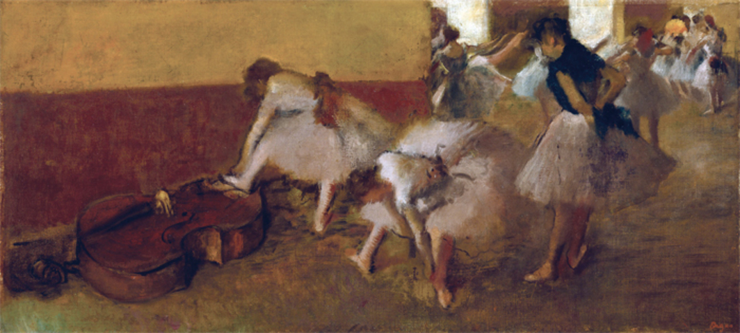 "Edgar Degas, Dancers in the Green Room, ca. 1879, oil on canvas, 16 1/4 x 34 1/2""."