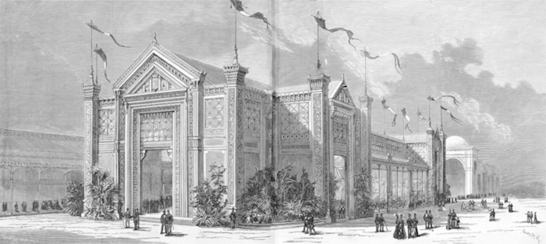 Engraving of the Pavillon de la Ville de Paris, site of the Salon d'Hiver de la Société des Artistes Indépendants, December 1884–January 1885, avenue des Champs-Élysées, Paris.