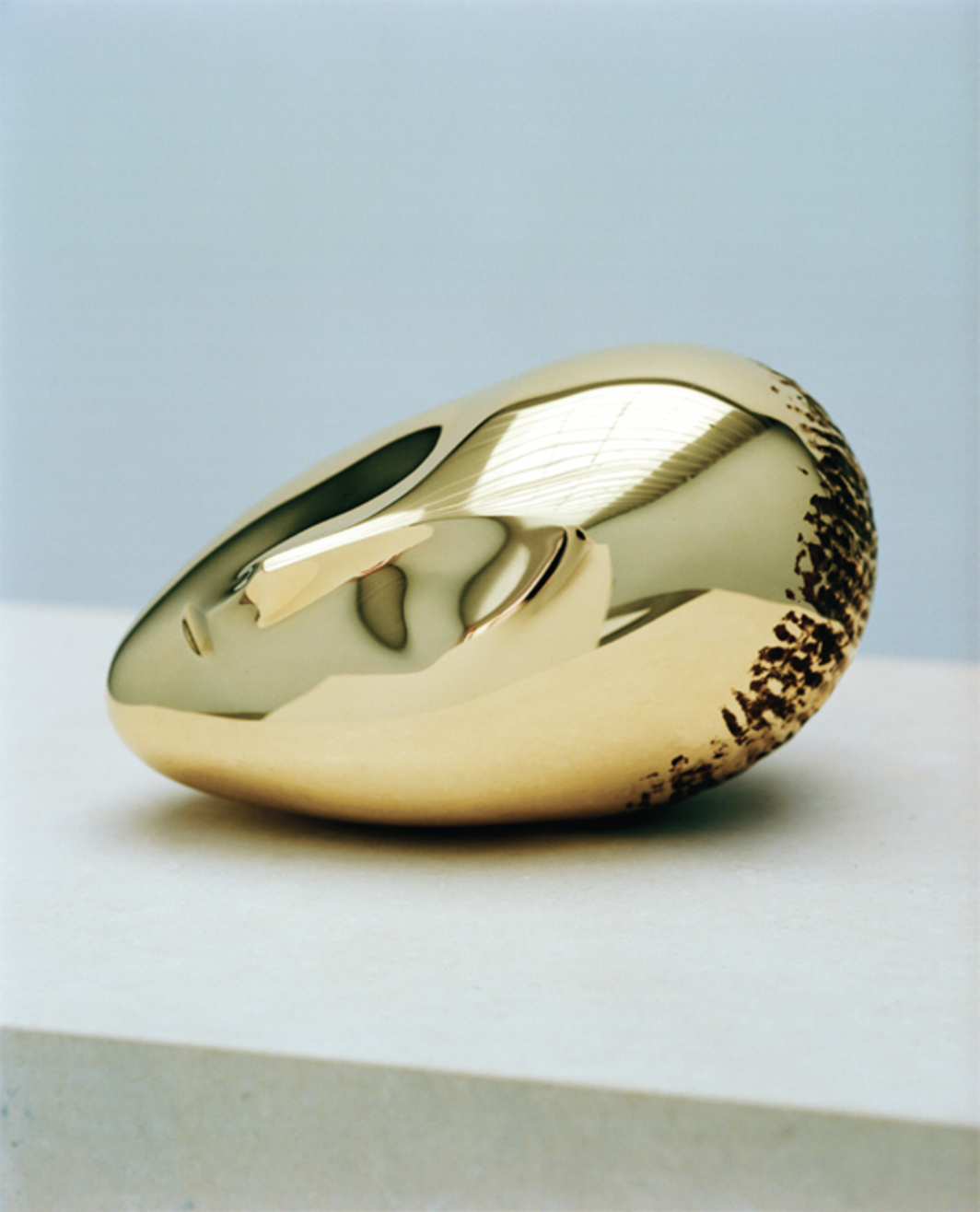 "Constantin Brancusi, La Muse Endormie II (Sleeping Muse II), 1923/2010, polished bronze, 6 5/8 x 11 3/8 x 6 7/8""."
