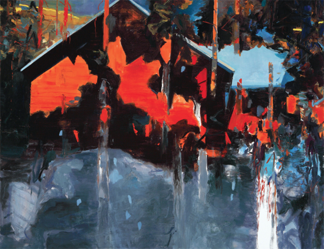 "Eric Aho, Wilderness Studio, 2013, oil on linen, 62 x 80""."