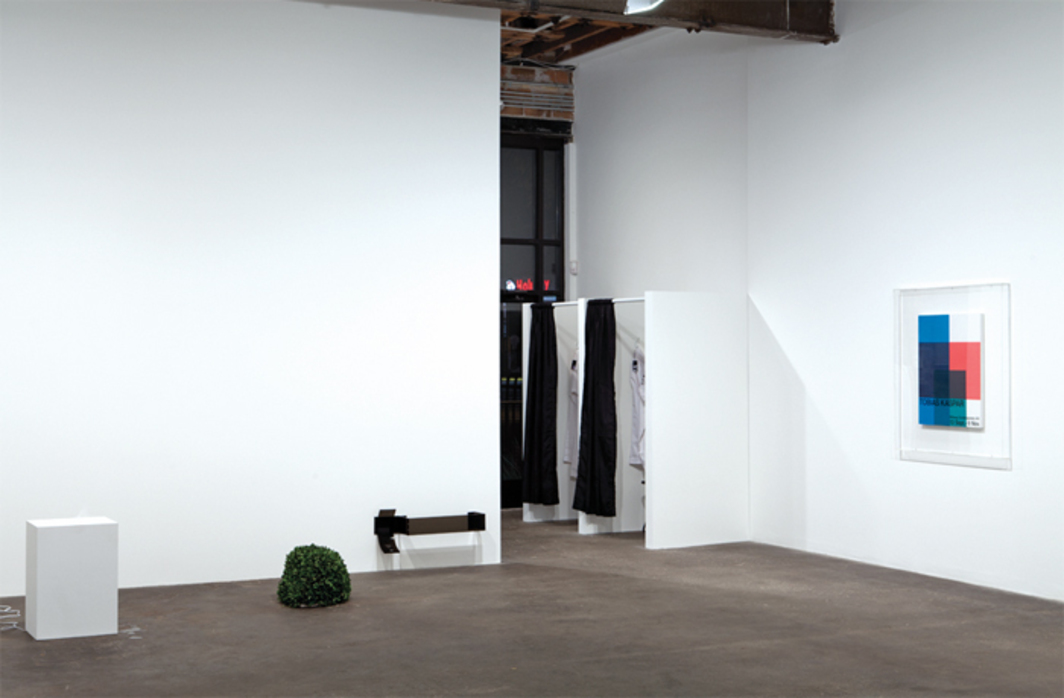 "View of ""Tobias Kaspar,"" 2013. From left: Core Lux, 2013; Holiday, 2013; Stripped Bare (Exhibition Announcement), 2013."