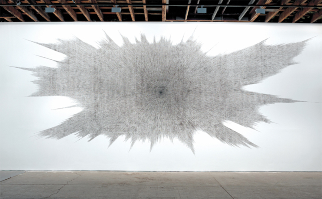 Idris Khan, Beyond the Black (Wall Drawing), 2013, oil and gesso on wall, dimensions variable.
