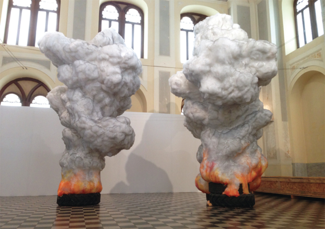 "Gal Weinstein, Fire Tire, 2010/2013, wax, natural and polyester wool, styrofoam, graphite, 14' 9"" x 19' 8 1/4"" x 9' 10"". From the 4th Thessaloniki Biennale of Contemporary Art. Geni Tzami Mosque."