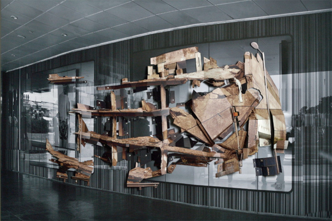 "Asim Waqif, Urban Ruin at Ashram Chowk #1, 2013, digital C-prints, ink-jet print, wood, MDF, aluminum, 48 x 84 x 6""."