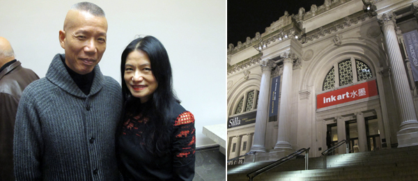 Left: Artist Cai Guo-Aiang with Vivienne Tam. Right: Outside the Metropolitan Museum. (Except where noted, all photos: Lee Ambrozy)