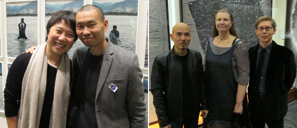 Left: White Cube Hong Kong's Laura Zhou and artist Qiu Anxiong. Right: Artist Yang Jiecang with curators Britta Erickson and Christopher Phillips.