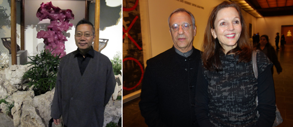 Left: Artist Zhang Jianjun. (Photo: Lee Ambrozy) Right: Collector Fred Gordon with Alexandra Munroe, Asian Art curator at the Guggenheim Museum.