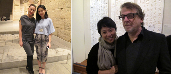 Left: Melanie Low, director of Red Cactus Productions with Wang Xin from the Ink Art curatorial team. Right: Laura Zhou and Waling Boers.