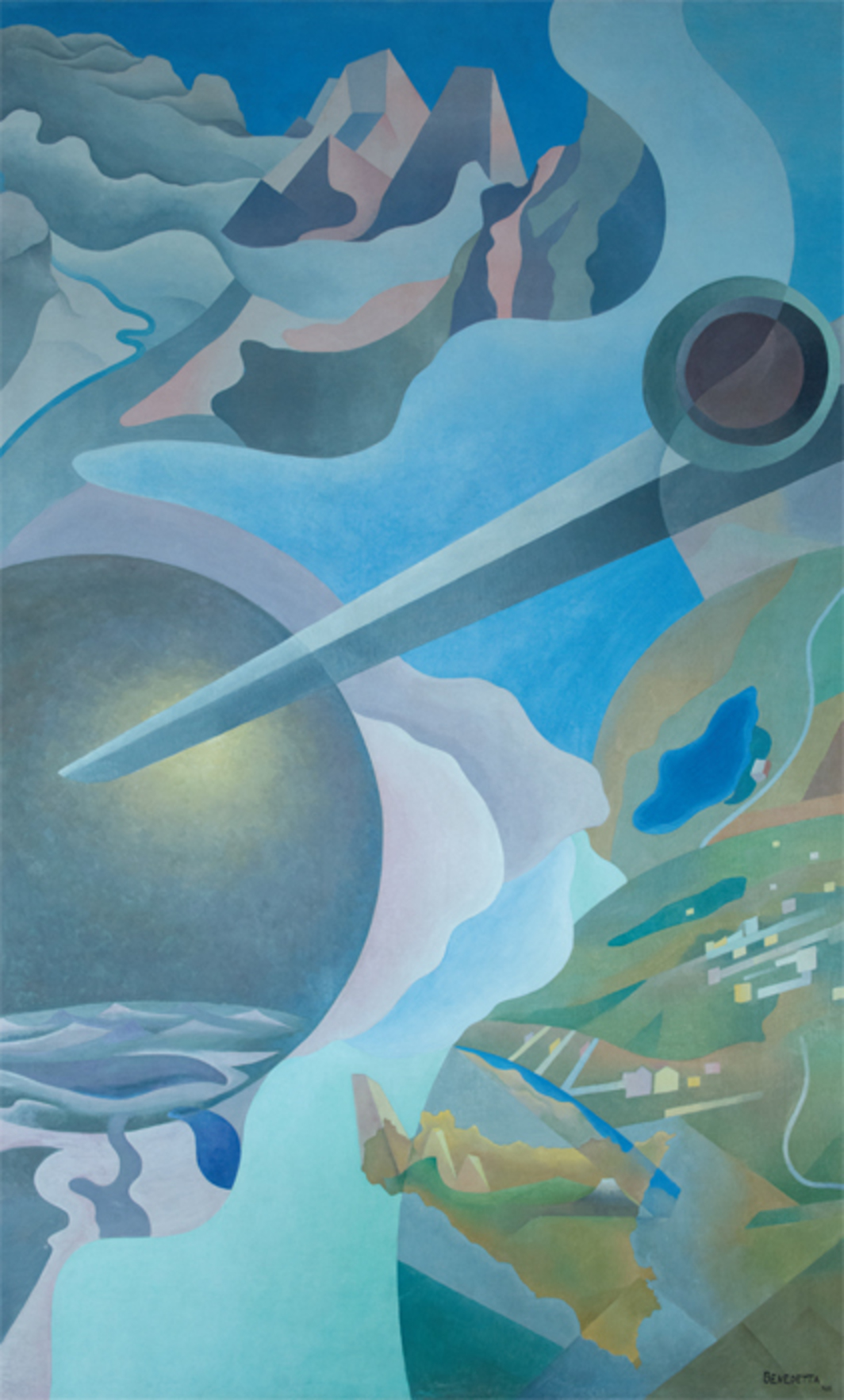 "Benedetta, Sintesi delle comunicazioni aeree (Synthesis of Aerial Communications), 1933–34, tempera and encaustic on canvas, 10' 7 1/2"" x 6' 6 3/8"". From ""Italian Futurism, 1909–1944: Reconstructing the Universe."""