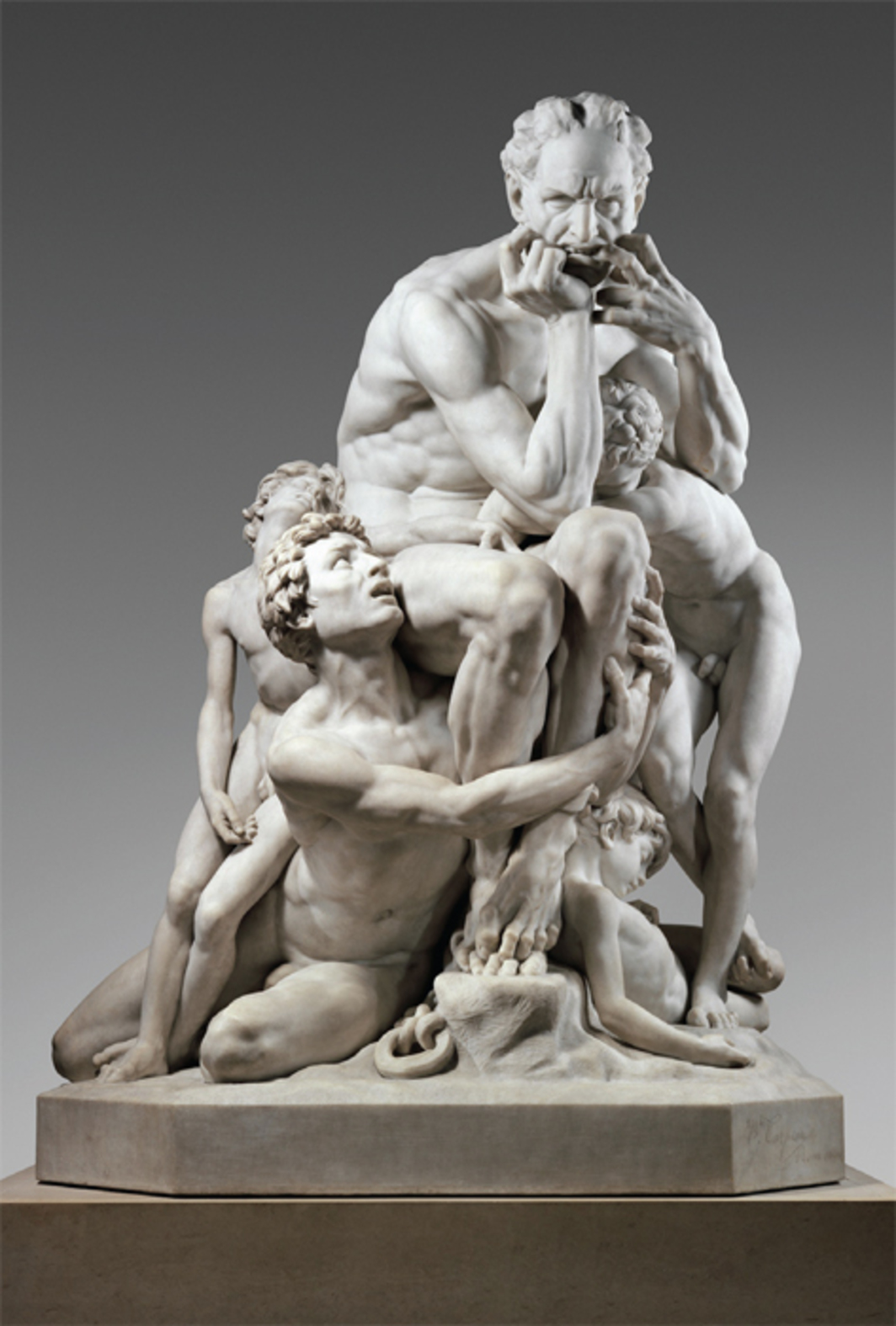 "Jean-Baptiste Carpeaux, Ugolino and His Sons, 1865–67, marble, 77 3/4 x 59 x 43 1/2""."
