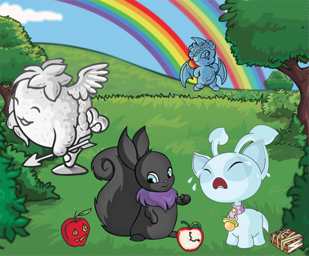 *Composite image created from materials listed on Jellyneo's Neopet Item Database, featuring the Shadow Usul and Baby Aisha in foreground.*