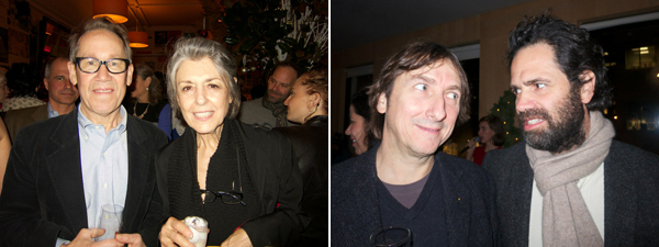 Left: Artist Bing Wright and dealer Paula Cooper. Right: Dealers Jose Martos and Gavin Brown.