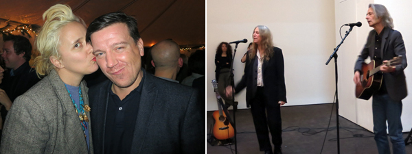 Left: Artist K8 Hardy and Artists Space director Stefan Kalmar. Right: Patti Smith and Lenny Kaye performing at the Museum of Modern Art.