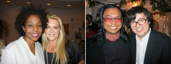 Left: Artist Lorna Simpson and collector Jennifer McSweeney. Right: Artists Rirkrit Tiravanija and Ken Okiishi.
