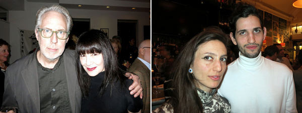 Left: Artist James Welling with Performa founder RoseLee Goldberg. Right: Artists Tauba Auerbach and Andrew Greene.