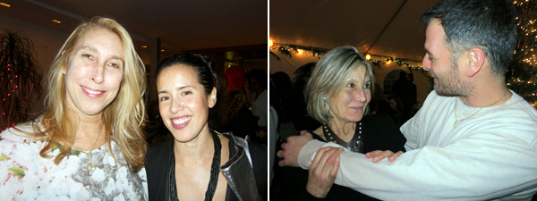 Left: New Museum director Lisa Phillips and artist Sarah Sze. Right: Curator Clarissa Dalrymple and artist Uri Aran.