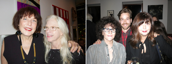 Left: Artists Marilyn Minter and Nancy Dwyer. Right: Writer Lynne Tillman with dancer Steven Raker and singer Jenni Muldaur.