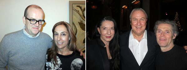 Left: White Columns director Matthew Higgs with collector Shelley Fox Aarons. Right: Artist Marina Abramović, director Robert Wilson, and actor Willem Dafoe.