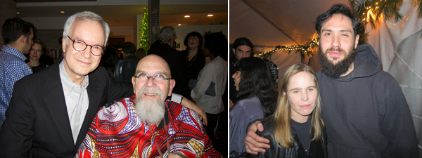 Left: Attorney John Silberman and artist Chuck Close. Right: Artist Hanna Liden and dealer Alex Zachary.