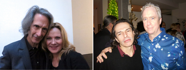 Left: Musician Lenny Kaye with actress Kim Cattrall. Right: Artists Matvey Levenstein and Tony Oursler.