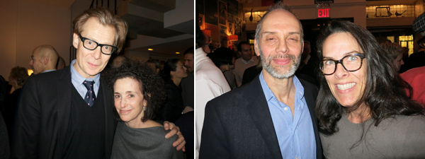 Left: Dia Foundation director Philippe Vergne with collector Catherine Orentreich. Right: Artist Wayne Gonzales and art adviser Maureen Mahony.