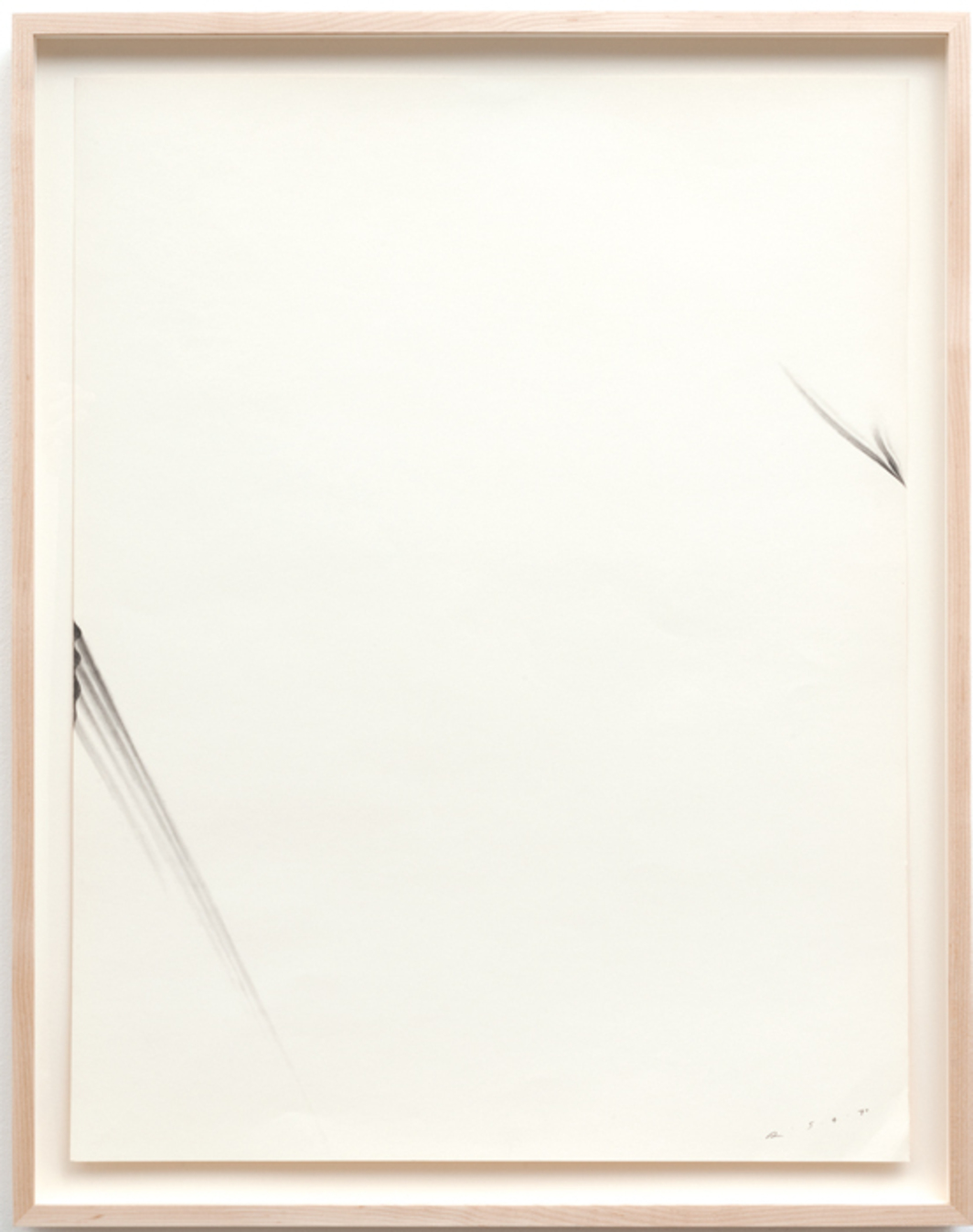 "Robert Overby, Two Stretch Drawings, 1970, graphite on paper, 26 x 20""."