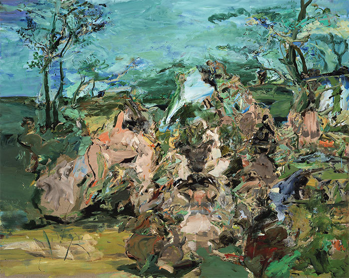 "Cecily Brown, Bacchanal, 2001, oil on linen, 48 x 60""."