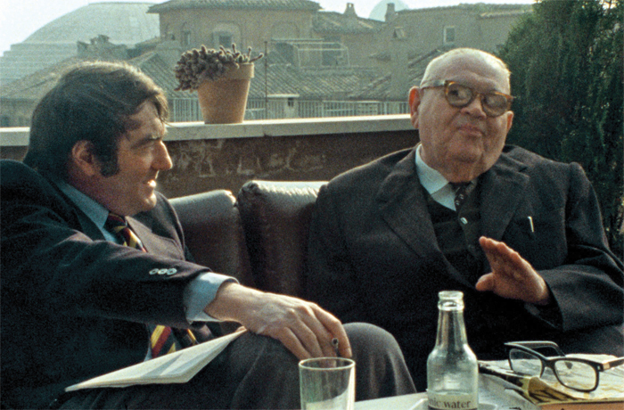 Claude Lanzmann, The Last of the Unjust, 2013, 16 mm and 35 mm, color and black-and-white, sound, 218 minutes. Claude Lanzmann and Benjamin Murmelstein.