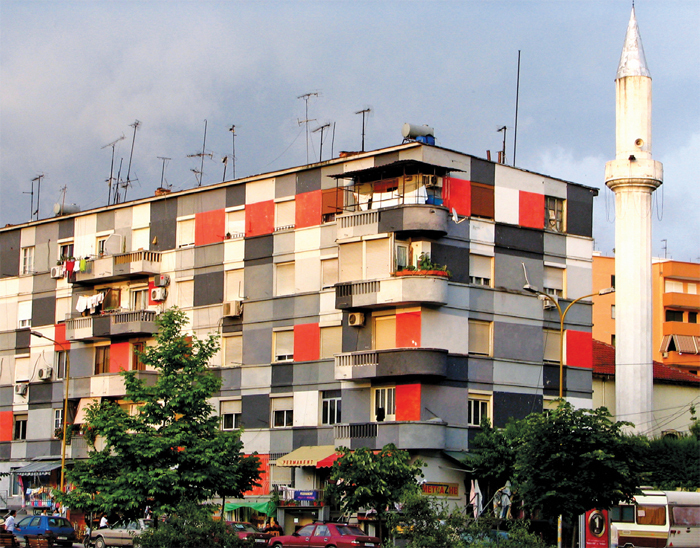 Painted apartment building from the Tirana color facade project, 2001–11, Tirana, Albania, 2007. Photo: David Dufresne/Flickr.