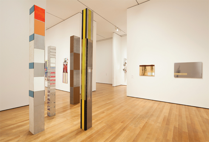 "View of ""Isa Genzken: Retrospective,"" 2013–14. Foreground, from left: Dan, 1999; Andy, 1999; Wolfgang, 1998; Isa, 2000; Soziale Fassade, 2002; Soziale Fassade, 2002."