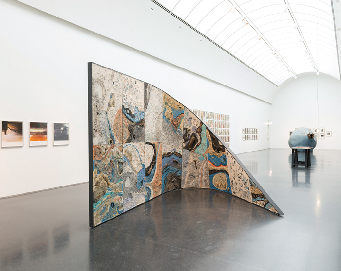 "View of ""The Way of Shovel,"" 2013–14. From left: Moyra Davey, May 7, 2001, 2003; Moyra Davey, Floor, 2003; Moyra Davey, Copperheads 101–200, 2013; Mariana Castillo Deball, Uncomfortable Objects, 2012; Scott Hocking, Rusty Sputnik, 2013. Photo: Nathan Keay."