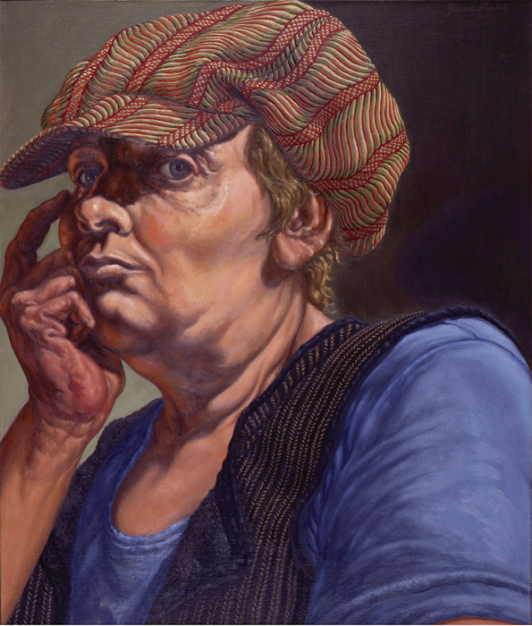 "Jack Beal, Envy, Self-Portrait with Hat, 1977, oil on canvas, 26 x 22""."