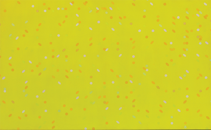 "Larry Poons, Jessica's Hartford, 1965, acrylic on canvas, 80 x 120""."