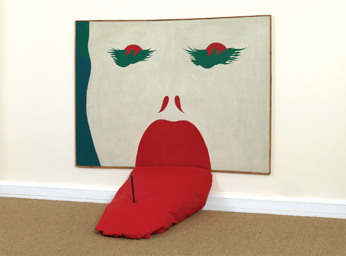 "Jerzy ""Jurry"" Zieliński, Bez Buntu (Without Rebellion), 1970, oil on canvas, pillow, nail; painting: 59 x 78 1/4""; pillow: approx. 17 3/4 x 31 1/2 x 51 1/8""."
