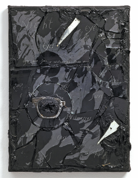"Derek Jarman, Eyes, 1986, oil and mixed media on canvas, 14 1/3 x 10 1/2 x 1 1/8""."