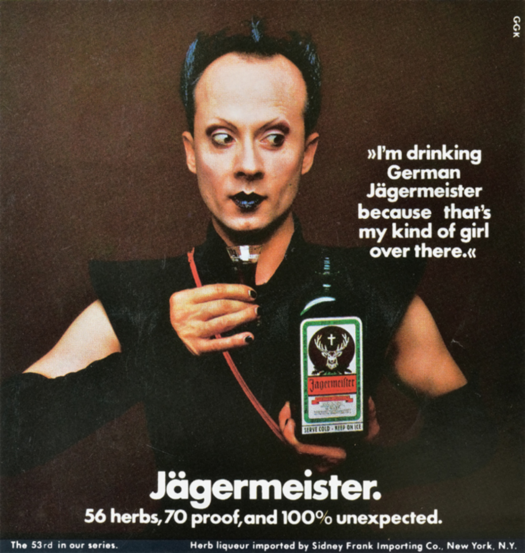 *Advertisement for Jägermeister featuring Klaus Nomi shot by Jan Michael, which ran in a 1981 issue of New York magazine.(
