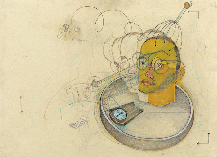 "Roshan Chhabria, Weight of a Brain (detail), 2013, watercolor on paper, 22 1/2 x 31""."